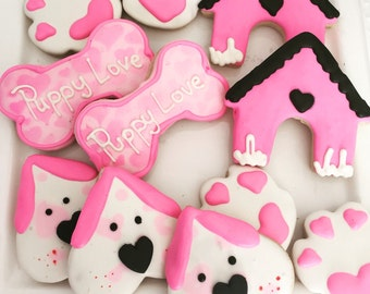 Puppy Themed Butter Cookies....Decorated Puppy Love themed Cookies.. Gluten free also Available