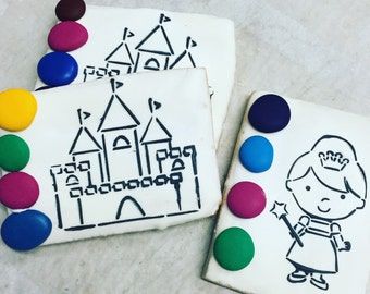 PYO paint your own castle and princess butter cookies    Decorated princess cookies  gluten free also available