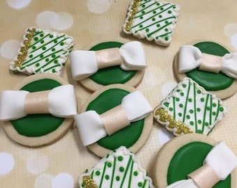 Emerald Green Butter Cookies  bridal shower wedding cookies  decorated sugar cookies
