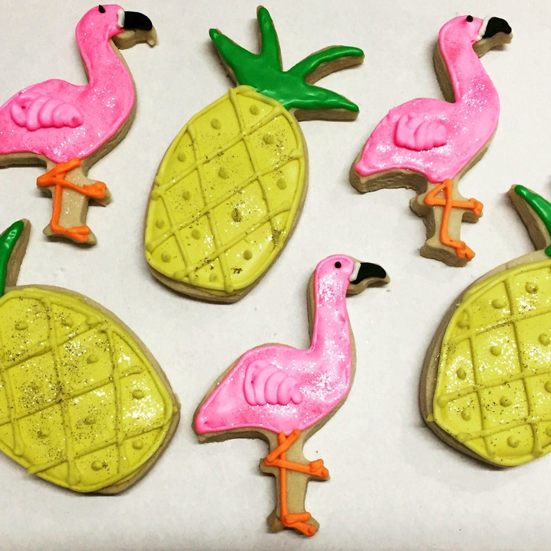 Flamingo And Pineapple Decorated Butter Cookies Flamingo Cookie Set And Pineapple Cookie Set