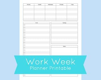 Work Week Planner Printable, Work Week Planner Template, Work Planner Printable, Printable Planner Pages, Filofax Printables