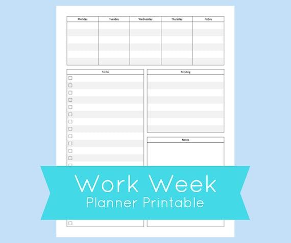 work week planner printable work week planner template work etsy