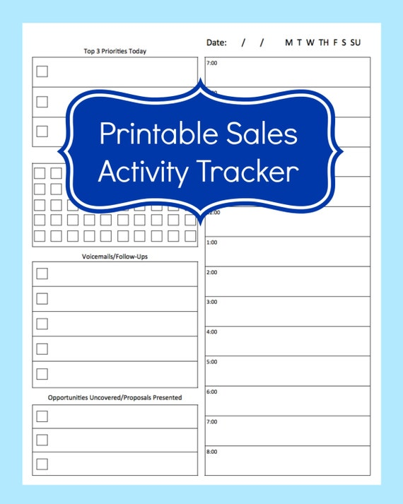 Sales Activity Tracker Daily Planner Cold Call