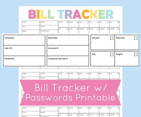 Bill Tracker Printable Bill Due Planner Bill Organizer Printable Planner Page To Keep Track Of Bills