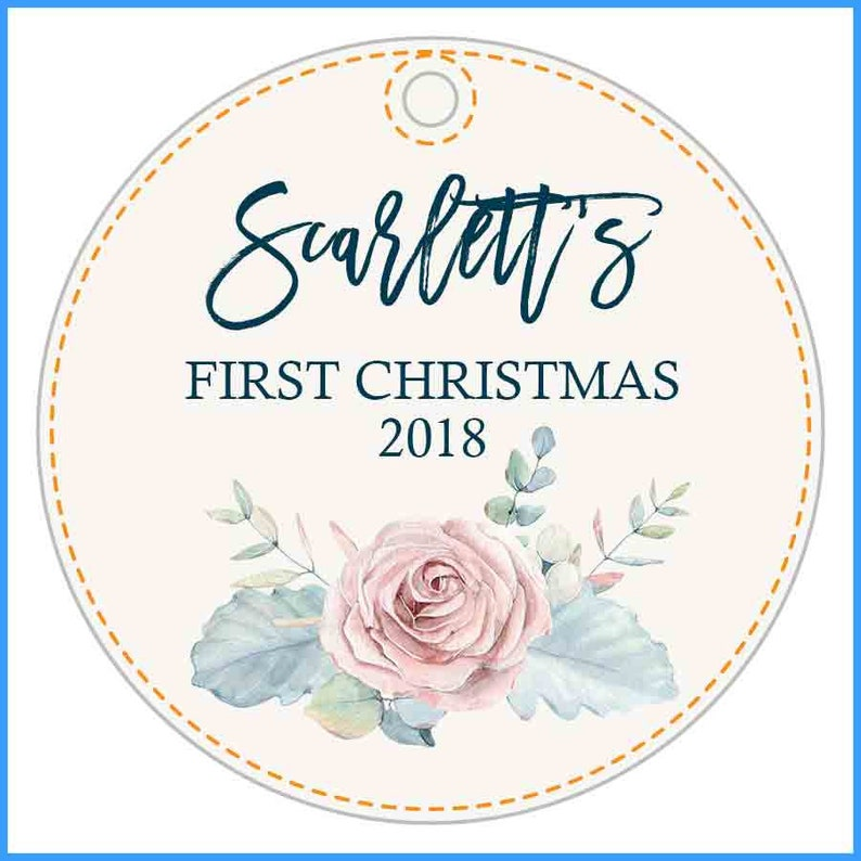 Baby/'s First Christmas Idea Personalized First Christmas for Baby with Custom Name and Rose Pretty Christmas Ornament Holiday Decor