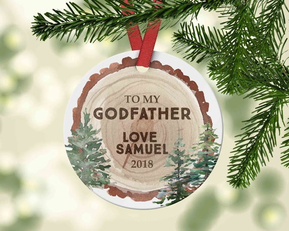 Godfather Christmas Ornament Gift from kid to Godfather Wood | Etsy