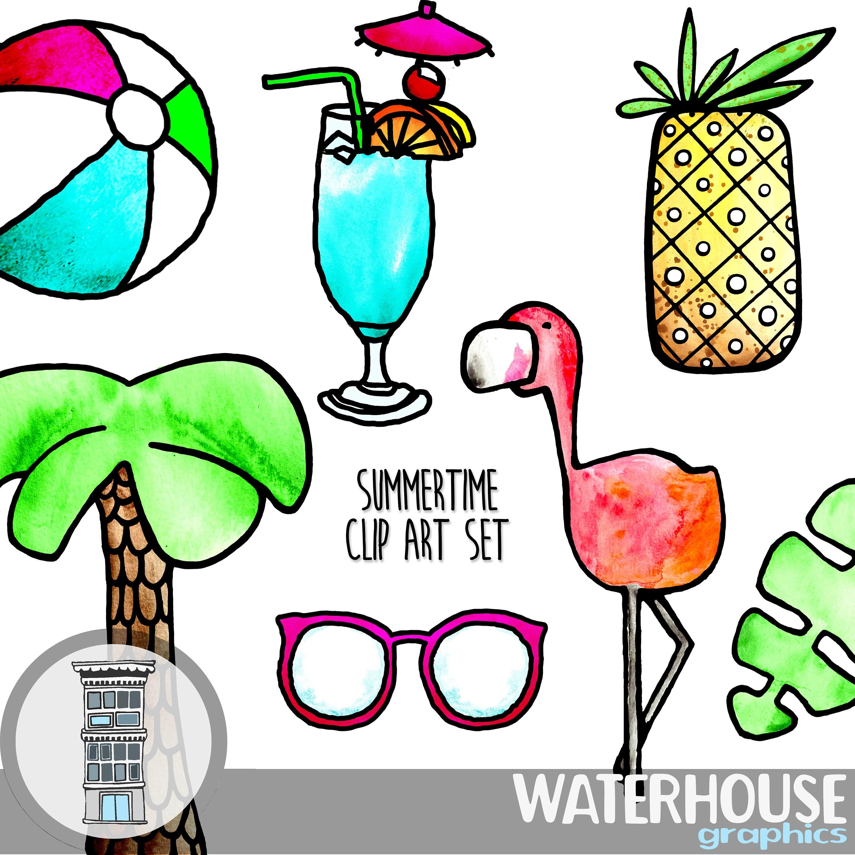 Tropical Summer Clip Art Set INSTANT DIGITAL DOWNLOAD ...
