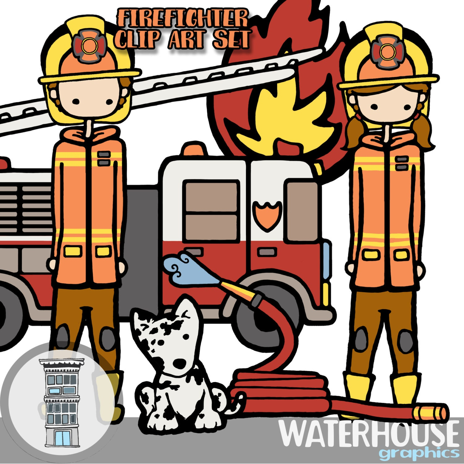 firetruck firefighters clip art etsy rh etsy com firefighter clipart baby firefighter clipart black and white