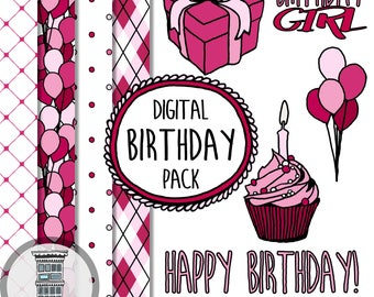 Digital Birthday Girl Set Clip Art Digital Papers INSTANT DOWNLOAD Pink Balloons Borders Frames Cupcake Present Digital Scrapbooking Pack