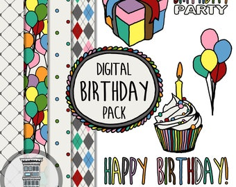 Digital Birthday Party Set Clip Art Digital Papers INSTANT DOWNLOAD Colorful Balloons Borders Frames Cupcake Present Digital Scrapbooking