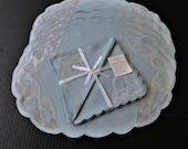 Vintage Madeira Linen and Organdie 12 piece Placemats and Napkins Blue Linen Sea Shells (Set for 6)