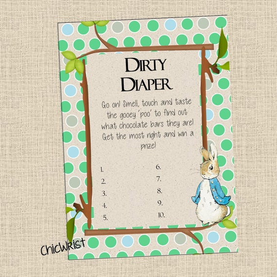 Peter Rabbit Baby Shower Dirty Diaper Baby Shower Game Etsy