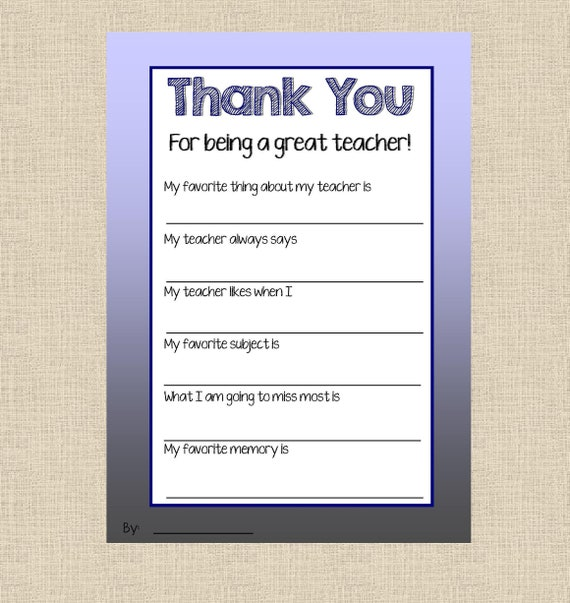 Teacher Appreciation Printable Teacher Thank You Thank You