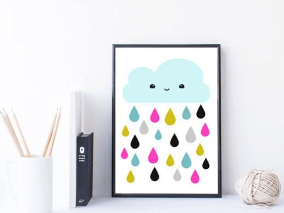 nube infantil para imprimir impresión arte de la pared del | Etsy