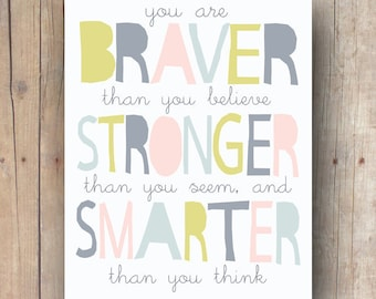 best friend gift - Winnie The Pooh quote printable - braver than you believe - inspirational quote - pooh nursery wall art - kids room decor