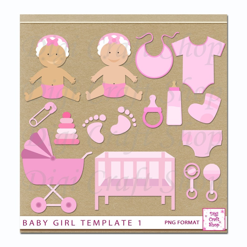 Digital Baby Girl Clipart Baby Crib Carriage Rattle Etsy