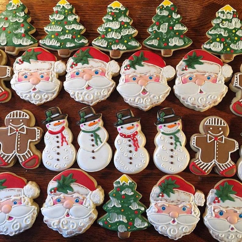 Christmas Cookies Santa Cookies Decorated Santa Cookies Holiday Cookies Gingerbread Man Cookies Snowman Custom Holiday Cookies