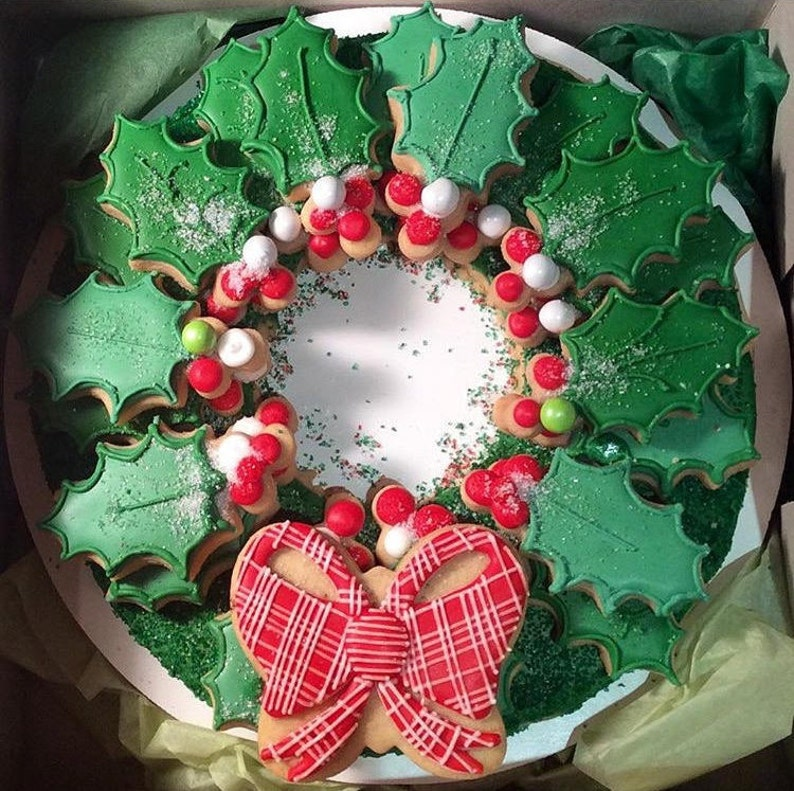 Decorated Wreath Cookies Christmas Cookies Holiday Sugar Cookies Holiday Gift Custom Holiday Cookies Edible Christmas Gift
