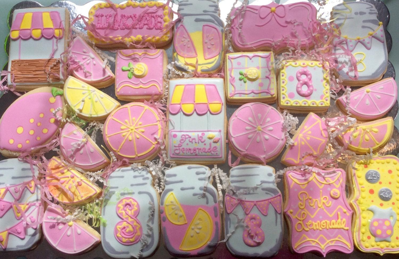 Pink Lemonade Decorated Cookies Girly Cookie Set Mason Jar | Etsy