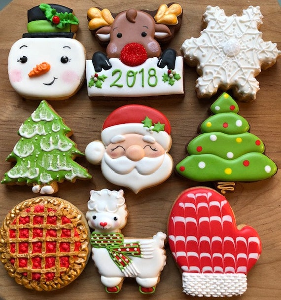 Decorated Holiday Sugar Cookies Holiday Cookies Santa Cookies Decorated Reindeer Cookies Christmas Cookies Llama Cookies Snowman