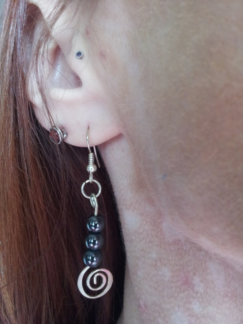 Hematite Spiral Dangle Earrings