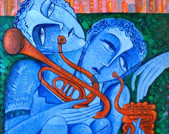 """Original  art Textured Painting Free Shipping  """"Musicians"""" Size 19.6 x 23.6 inch ( 50 x 60 cm )"""