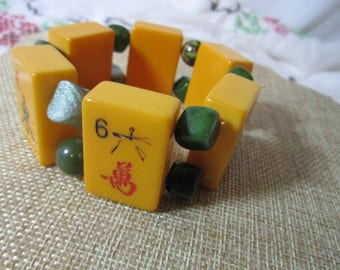 Butterscotch Bakelite Mah Jong Tile Bracelet