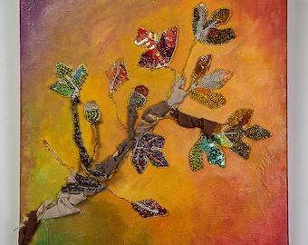 autumn leaves mixed media canvas