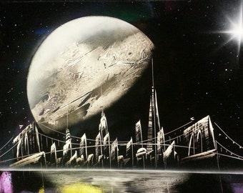 SPRAY Paint Art st - New York Space - Canvas Space Painting - Free Shipping