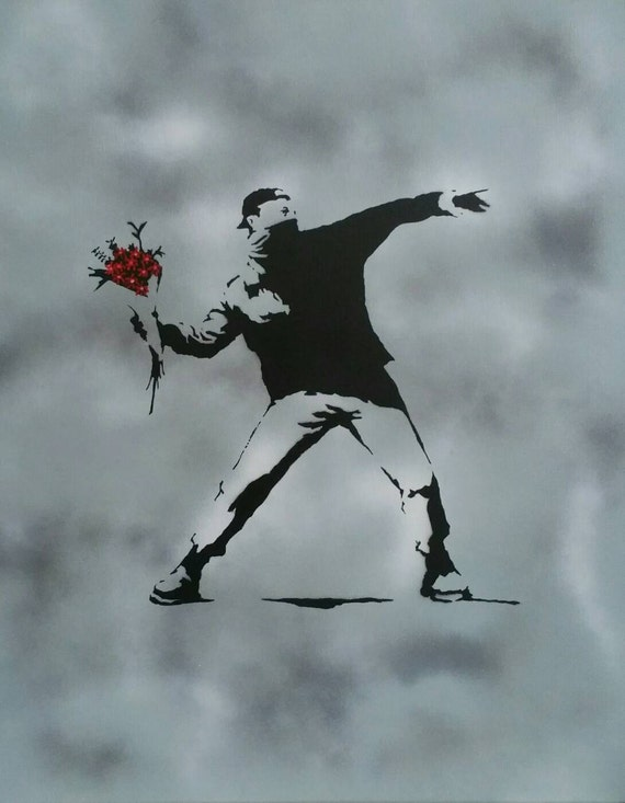 ACEO Banksy Flower Thrower Graffiti Street Art Canvas Giclee Print