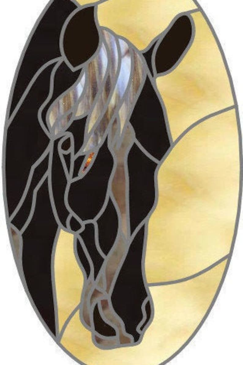 Stained glass mosaic or quilt pattern ranch horse digital image 1
