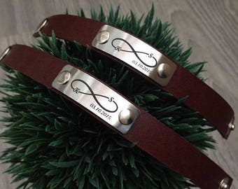 Leather Personalized Bracelet, Leather Cuff, Engraved Bracelet, Custom Leather Bracelet, Customized Bracelet, boyfriend girlfriend Bracelet