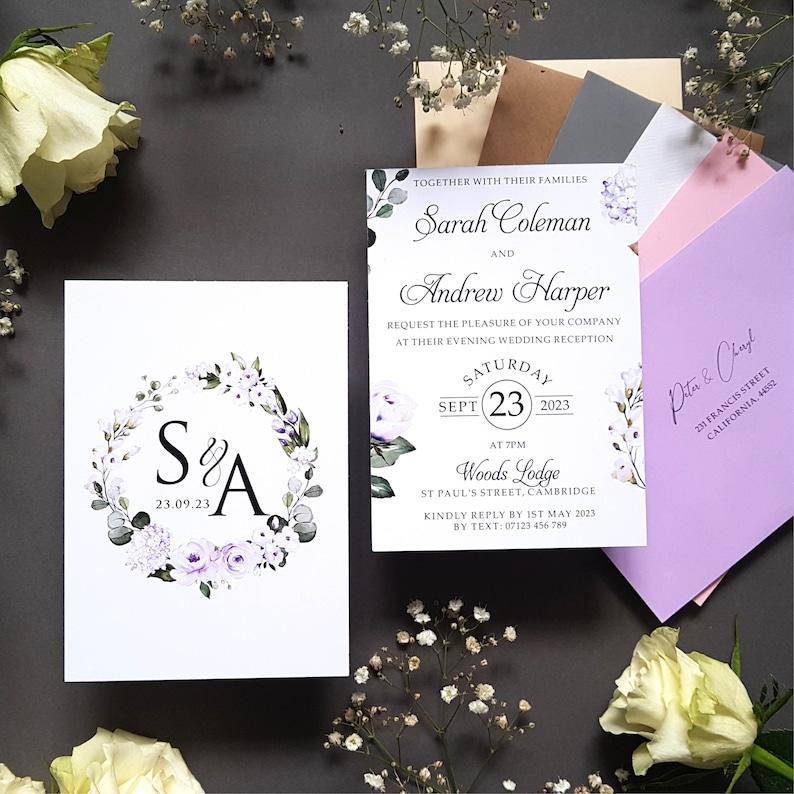 lavender Lilac Wedding Invitation or Evening Invitation Reception Invites Including Envelopes A6 Flat Card Wedding Invitations