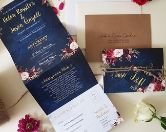 Blue Floral Wedding Invitation Set - Personalised Wedding Invite Or Save the Date Cards With Envelopes - Burgundy Wedding Invites