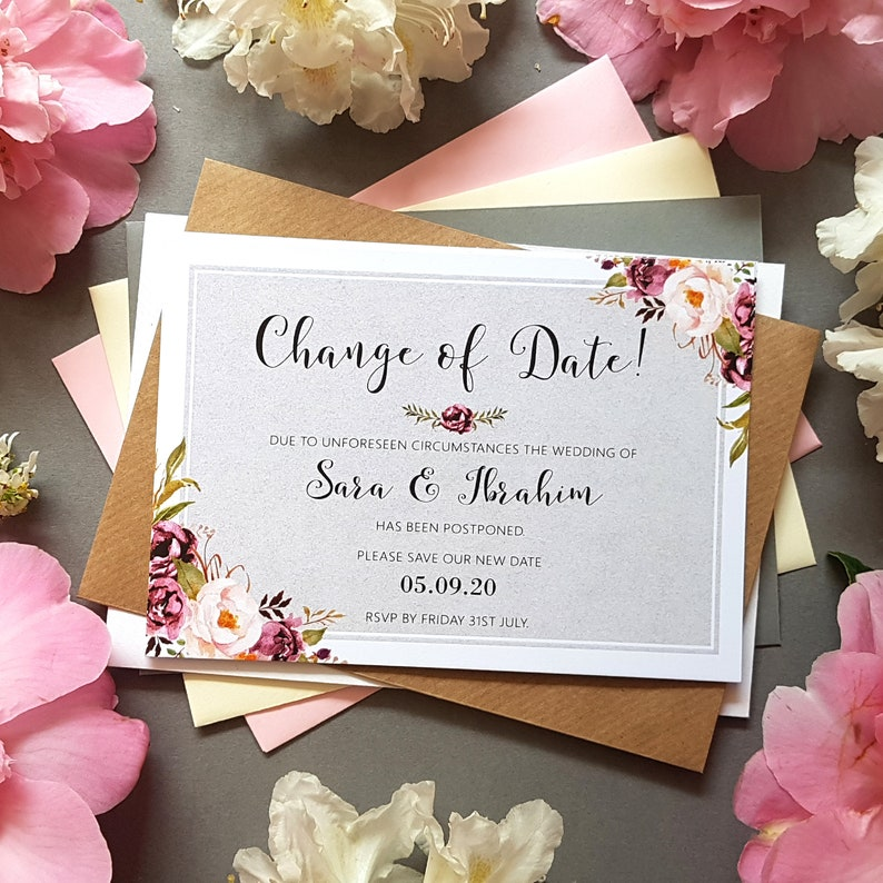 Wedding Date Changed Cards Save the Date Cards Navy /& Pink Change of Date Cards for Postponed Wedding With Envelopes