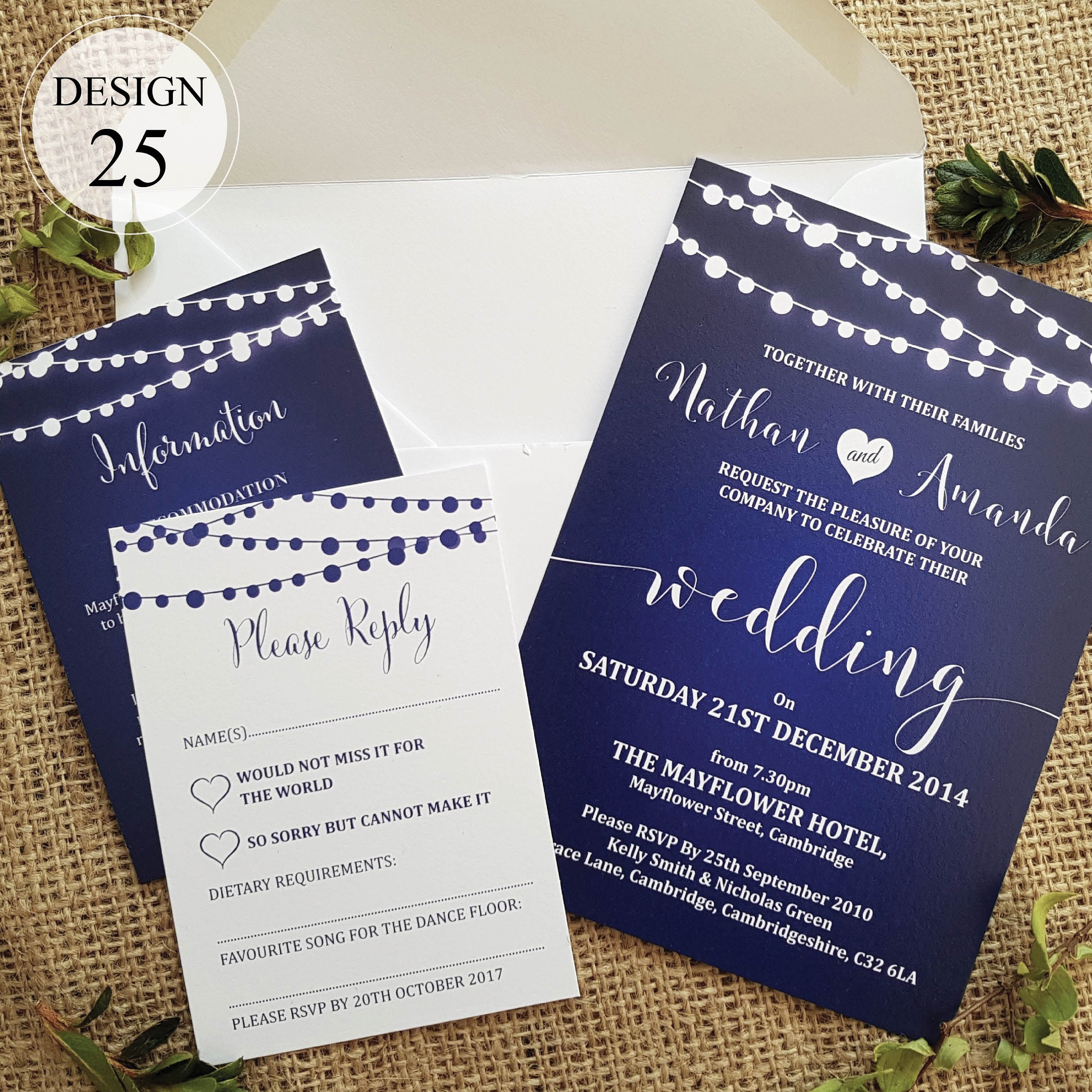 Personalised Wedding Invitations With Rsvp Card And Guest Etsy