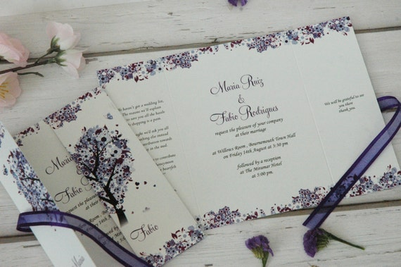 Wedding Invitations With Purple Ribbon: Purple Love Tree Wedding Invitations Personalised With