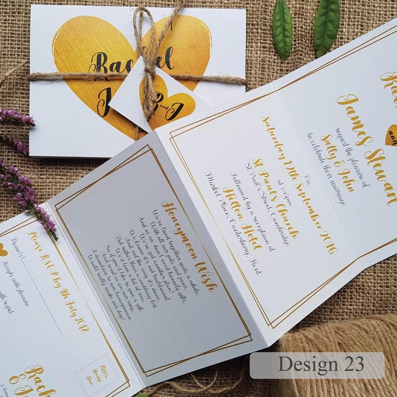 Concertina Wedding Invitations Heart Wedding Invitation Wedding Invites or Reception Invitation