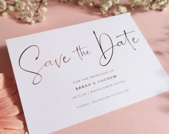 Blush Save the Date Cards With Envelopes - Any Colour or Message - Save the Dates Wedding Card