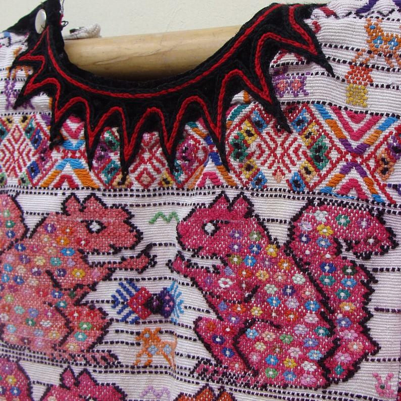Unique Ethnic handmade Clothing Vintage Boho Squirrel Top Folk Blouse from Guatemala Textiles