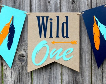 Wild One Birthday High Chair Banner - Tribal Birthday - Wild One Birthday - Tribal High Chair Banner - Arrow - Feathers - Aztec - Teepee