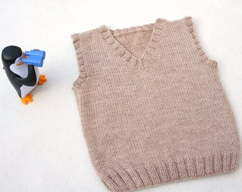 ec254d4ab Baby knit vest, hand knitted baby top, boy's vest, knit beige children's  tank, wool vest