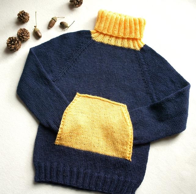 Suéter tejido a mano para niños cuello de tortuga con puente   Etsy