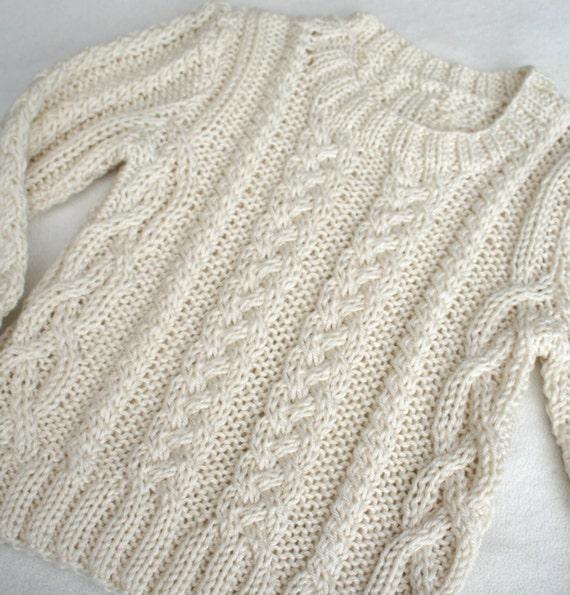 Suéter tejido a mano cable de marfil del puente punto suéter | Etsy