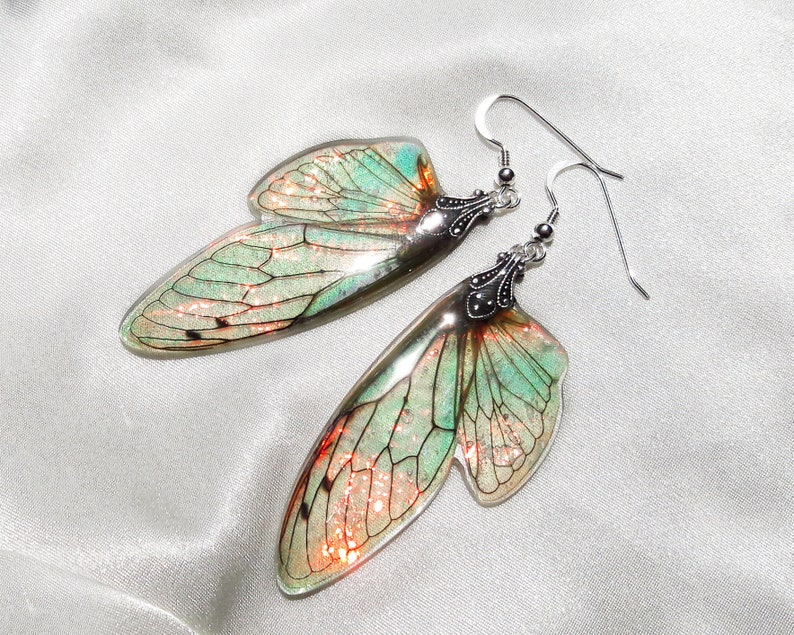 fairy earrings iridescent fairy wings color changing earrings costume wings fantasy accessories magical jewelry faerie art best gifts