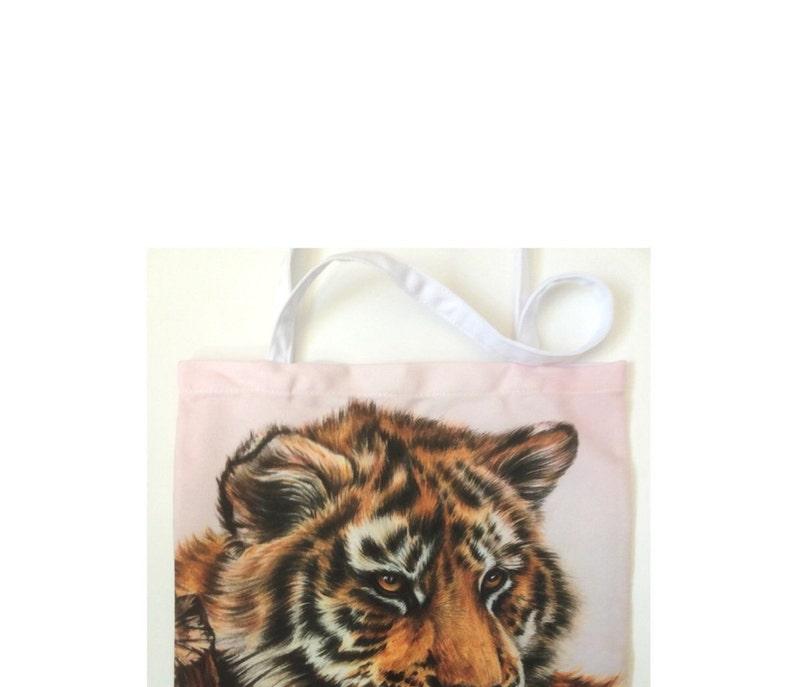 Reusable Grocery Bag Medium Cotton Tote TIGER CUB TOTE Bag For Cat Lovers Foldup Shopping Bag