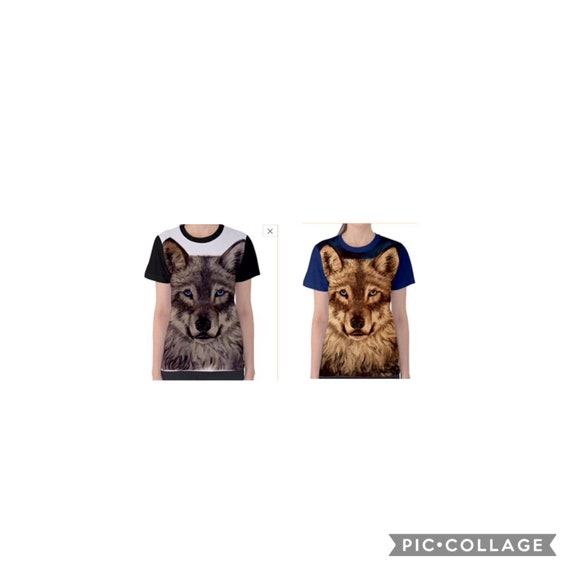 WOMENS WOLF FACE Novelty T Shirt Lone Wolf Wildlife T Shirt  63a881d98b