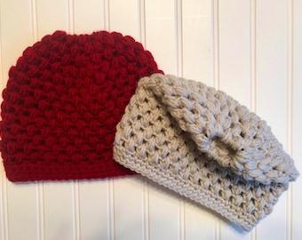 Ready To Ship-Crochet hat - women's/teens messy bun puff stitch beanie, pony tail, handmade