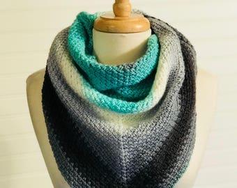 Ready To Ship-Crochet shawl- women's triangle scarf, handmade