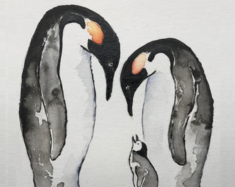 First we had each other, then we had you, now we have everything. Nursery Penguin Family. Customise - one two three or more baby penguins.